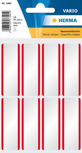 HERMA Namensetiketten 54 x 19 mm, Acetat-Seide, roter Rand