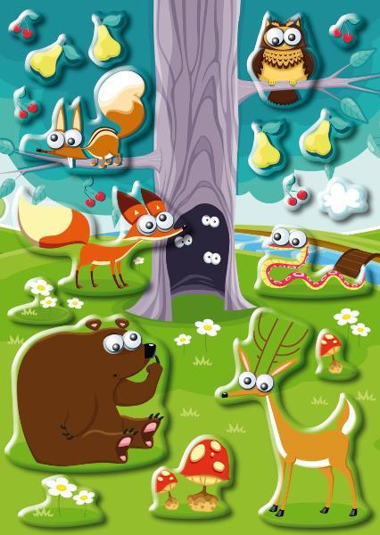 HERMA Sticker MAGIC Tiere im Wald, Wackelaugen