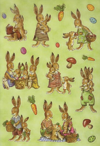 HERMA Oster-Sticker DECOR Hasenfamilie, beglimmert