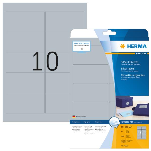 HERMA SPECIAL Folien-Etiketten, 96 x 50,8 mm, silber