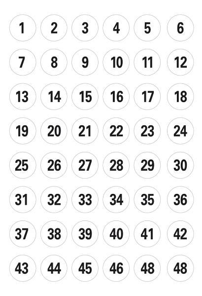 #10xEtikett Zahl   12mmD schwarz 240ST