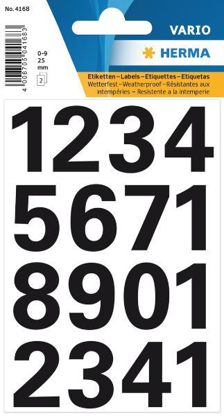 #10xEtikett Zahl   25mm schwarz wetterfest