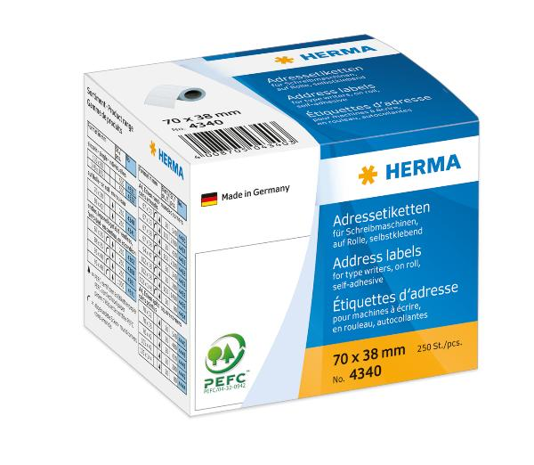 HERMA Adress-Etiketten, 70 x 38 mm, endlos, weiß