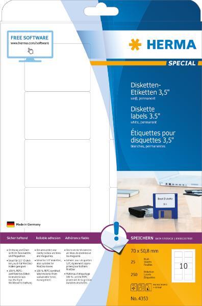 HERMA Disketten-Etiketten 3,5 SPECIAL, 70 x 50,8 mm, weiß