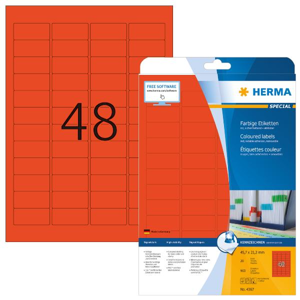 HERMA Universal-Etiketten SPECIAL, 45,7 x 21,2 mm, rot