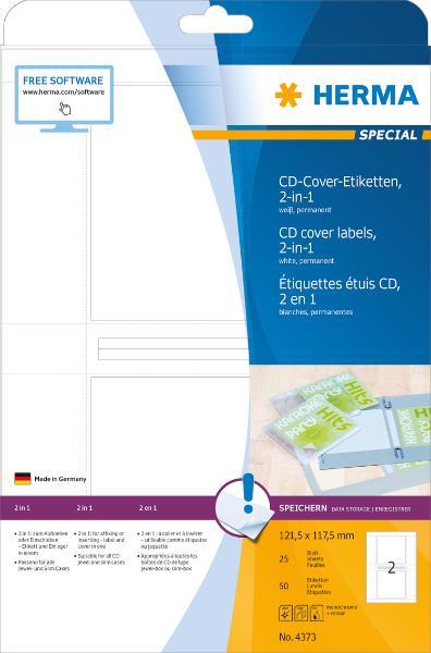 HERMA CD-/DVD-Cover-Etiketten SPECIAL, 121,5 x 117,5 mm