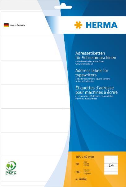 HERMA Adress-Etiketten, 105 x 42 mm, Ecken spitz, weiß