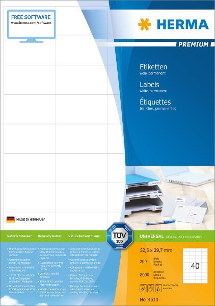 HERMA Universal-Etiketten PREMIUM, 52,5 x 29,7 mm, weiß