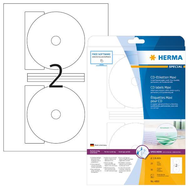 HERMA Inkjet CD/DVD-Etiketten SPECIAL Maxi, Durchm: 116 mm