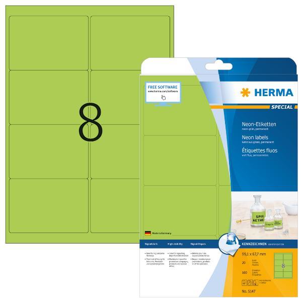 HERMA Universal-Etiketten SPECIAL, 99,1 x 67,7 mm, neon-...