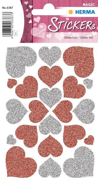 HERMA Sticker MAGIC Herzen rot & silber, Glittery