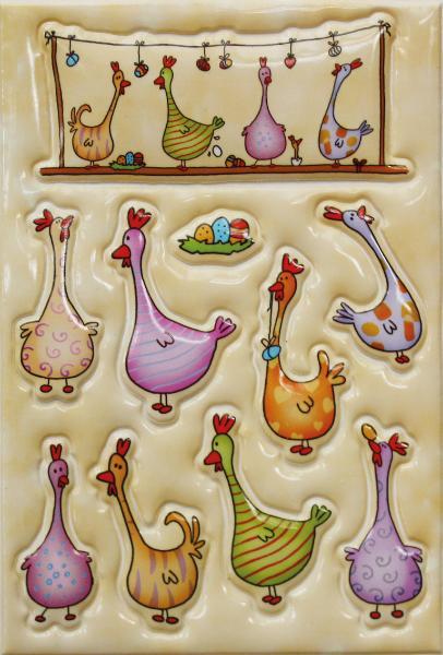 HERMA Oster-Sticker MAGIC Bunte Hühner, Puffy
