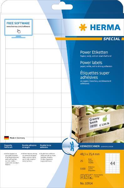 HERMA Power Etiketten SPECIAL, 48,3 x 25,4 mm, weiß