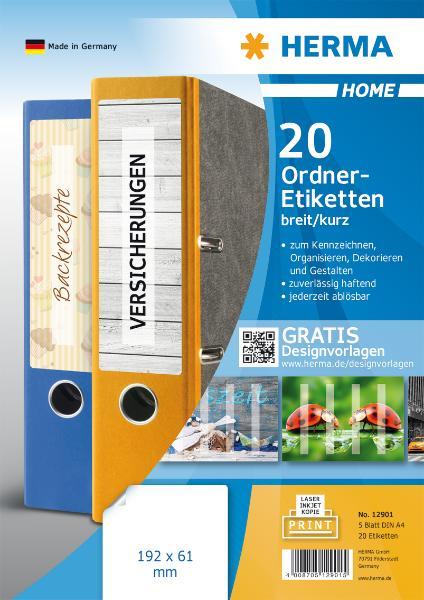 HERMA HOME Ordnerrücken-Etiketten, 192 x 61 mm, weiß