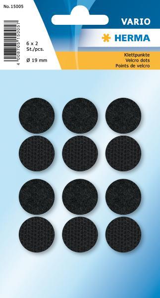 HERMA Klettpunkte, Durchmesser: 19 mm, schwarz