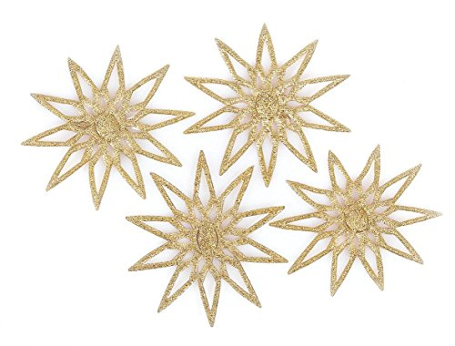 Streudeko 52mm 4 Stück Glitzerstern gold