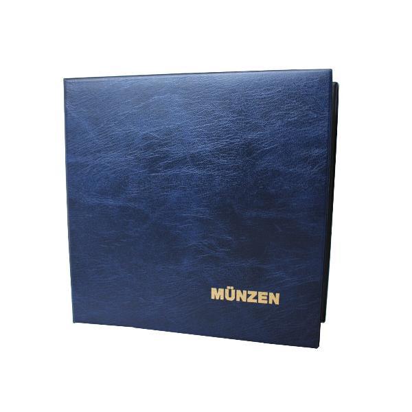 Münzalbum mit 2 Hüllen Kunststoffeinband blau mit 4-D Me...