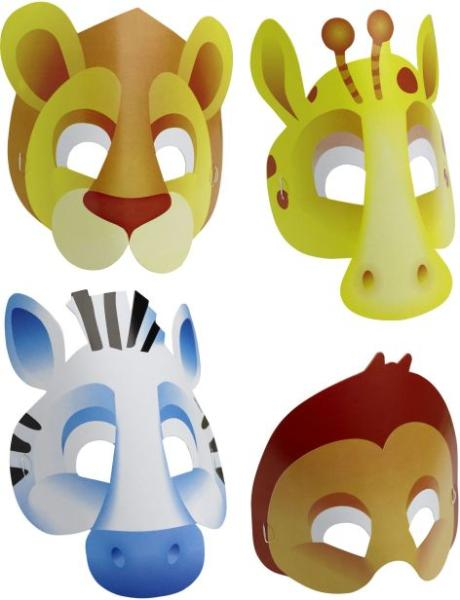 Maske Papier 6 Stück Safari