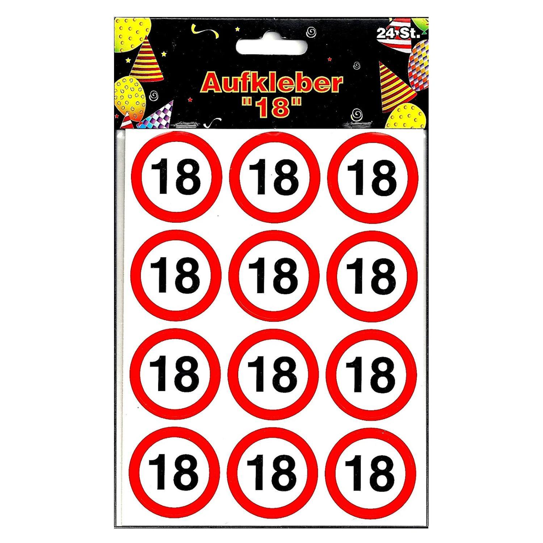 Sticker 24 Stück Verkehrschild Zahl 18