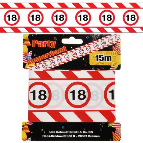 Absperrband 15M 7,5cm Verkehrschild Zahl 18 aus Kunststoff