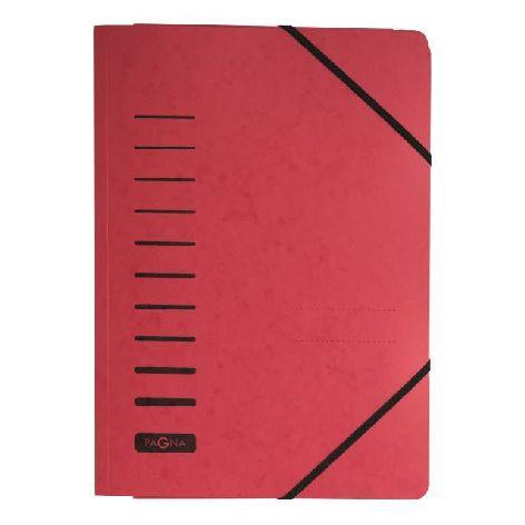 Gummizugmappe A4 Pressspan rot mit Eckspanngummi und 3 E...