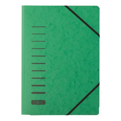 Gummizugmappe A4 Pressspan grün mit Eckspanngummi und 3 ...