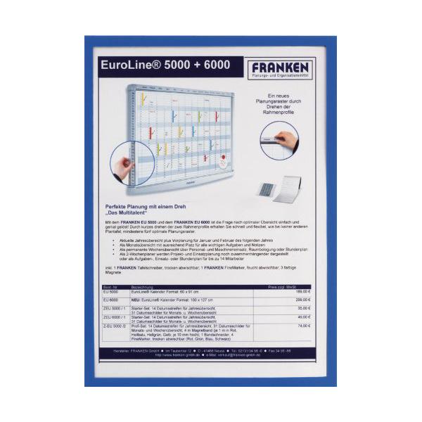 FRANKEN Magnet-Tasche FRAME IT X-tra!Line, DIN A4, blau