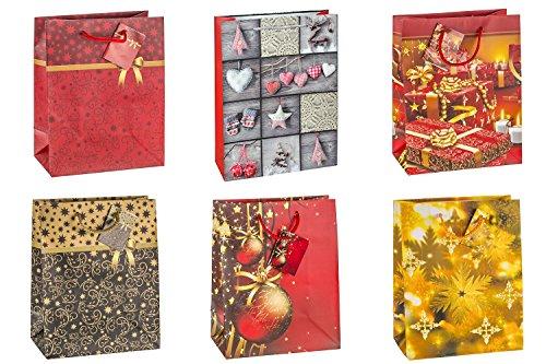 #12xGeschenktragetasche mittel Weihnachten 6-fach sortie...