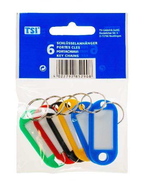 Schlüsselanhänger 6er Packung, farbig sortiert