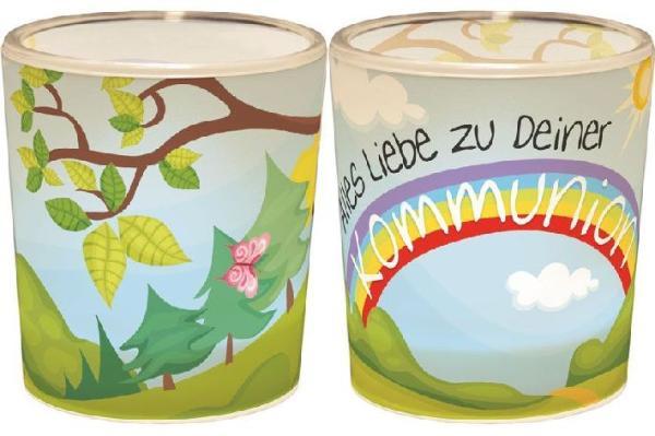 Windlicht+Teelicht 6x6cm Für Dich Kommunion in Geschenkp...