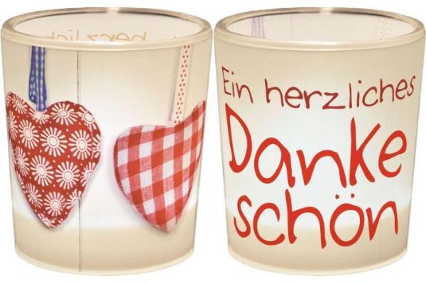 Windlicht+Teelicht 6x6cm Für Dich Dankeschön in Geschenk...