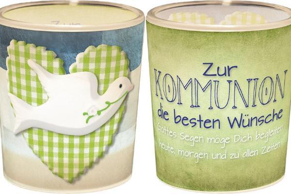 Windlicht+Teelicht 6x6cm Für Dich Zur Kommunion Taube