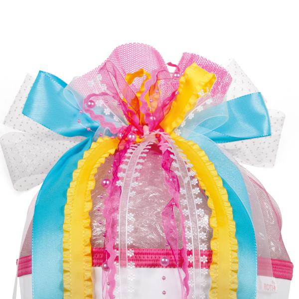 ROTH Schultütenschleife Happy, rosa/gelb/blau