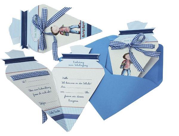 Roth Einladung Schulanfang 4ST blau Leni und Paul