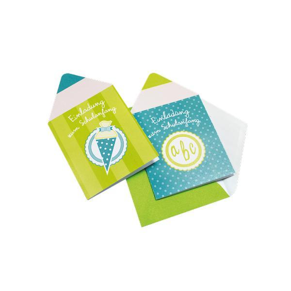 Einladungskarte 5 Stück Schulanfang Stift türkis grün in...
