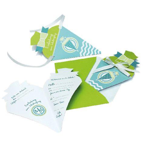 Einladungskarte 4 Stück Schulanfang Schultüte türkis grü...