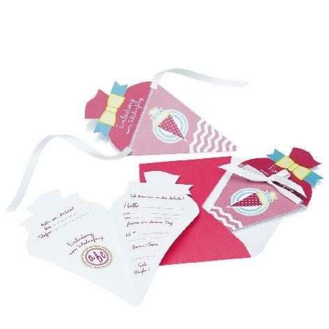 Einladungskarte 4 Stück Schulanfang Schultüte pink grün ...