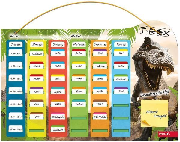 ROTH Klipp & Klar Stundenplan Steck-Fix Tyrannosaurus
