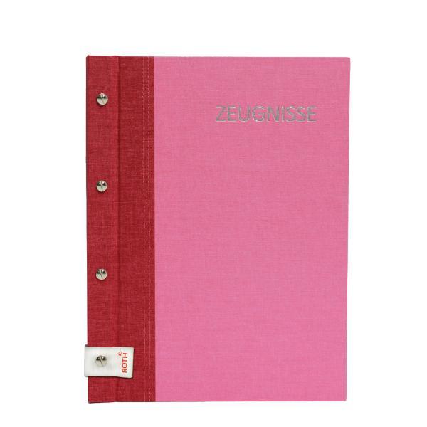 ROTH Zeugnismappe Bicolor mit Buchschrauben, rot / pink