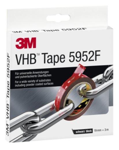 3M VHB Hochleistungsklebeband 5952F, 19 mm x 3 m, schwarz