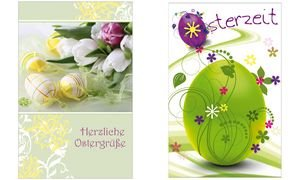 SUSY CARD Oster-Grußkarte Eier & Tulpen