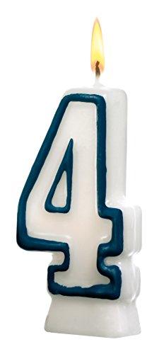 SUSY CARD Zahlenkerze, Ziffer: 4, aus Wachs, Höhe: 85 mm
