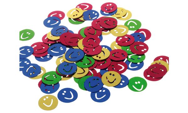 SUSY CARD Streuschmuck Smiley, aus Folie, farbig sortiert