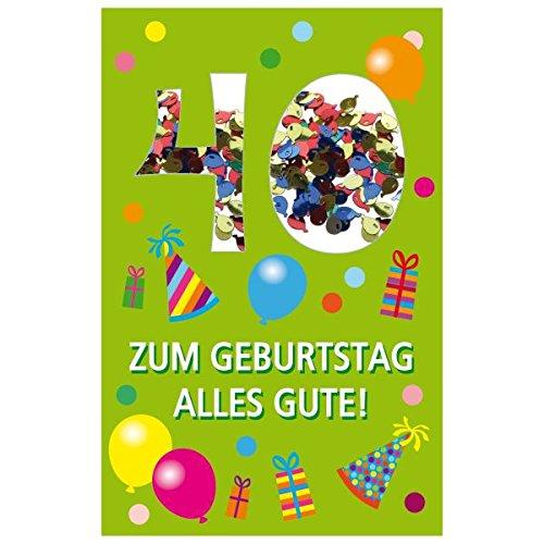 SUSY CARD Geburtstagskarte Konfetti 40. Geburtstag