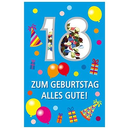 SUSY CARD Geburtstagskarte Konfetti 18. Geburtstag
