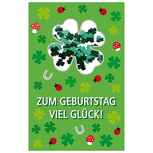 SUSY CARD Geburtstagskarte Konfetti Kleeblatt