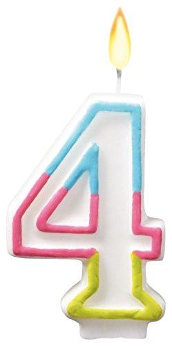 SUSY CARD Zahlenkerze Farben, Ziffer: 4, Höhe: 75 mm