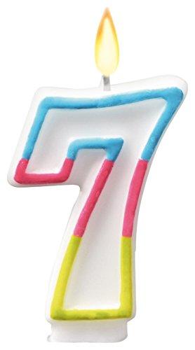 SUSY CARD Zahlenkerze Farben, Ziffer: 7, Höhe: 75 mm
