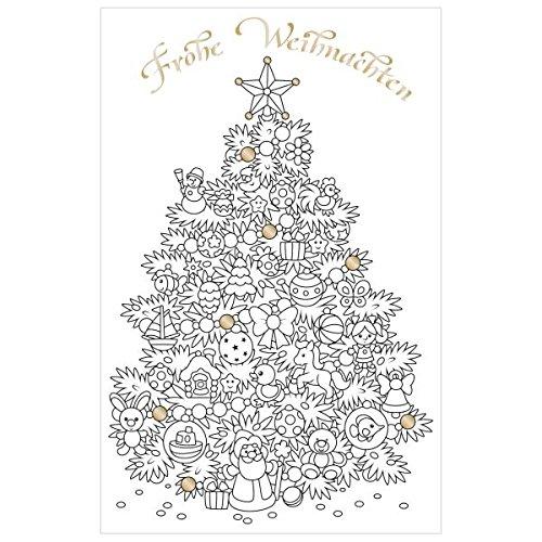 SUSY CARD Weihnachtskarte Baum, zum Ausmalen