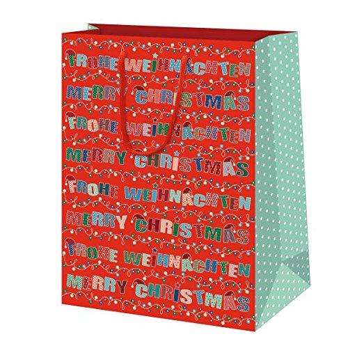 SUSY CARD Weihnachts-Geschenktüte Happy Xmas, mittel